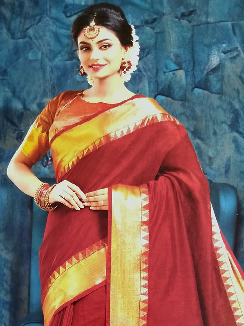 Big Border Cotton Will Saree with Blouse piece
