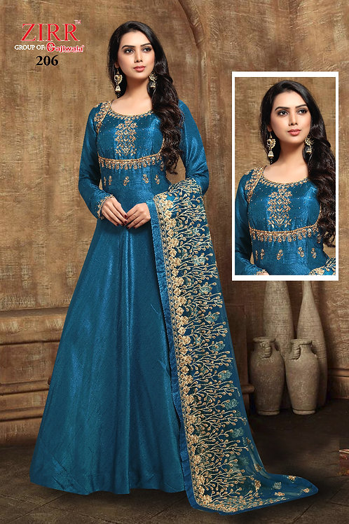 Gown Neck Embroidery - Blue-Golden
