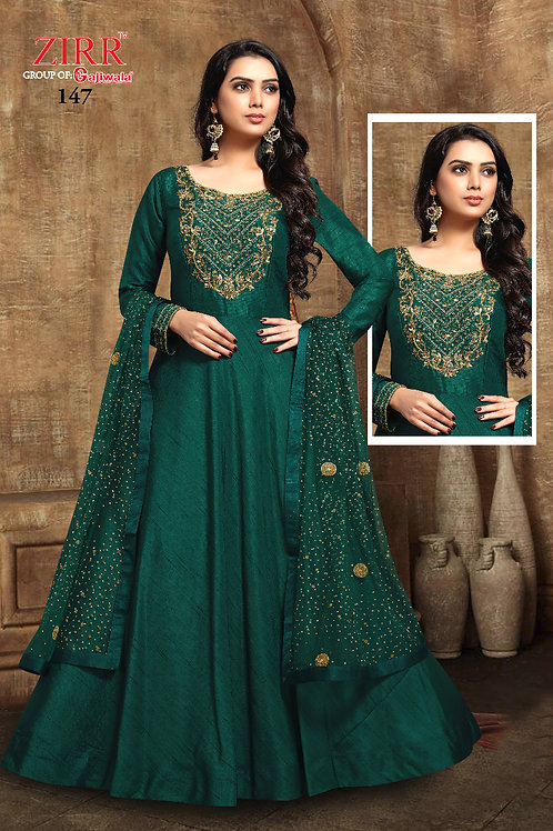 Gown Neck Embroidery - Bottle Green-Golden