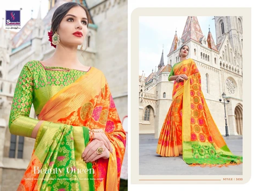 MC Design  KANTHAKALA SILK SAREES - SAFFRON WITH GREEN PALLU