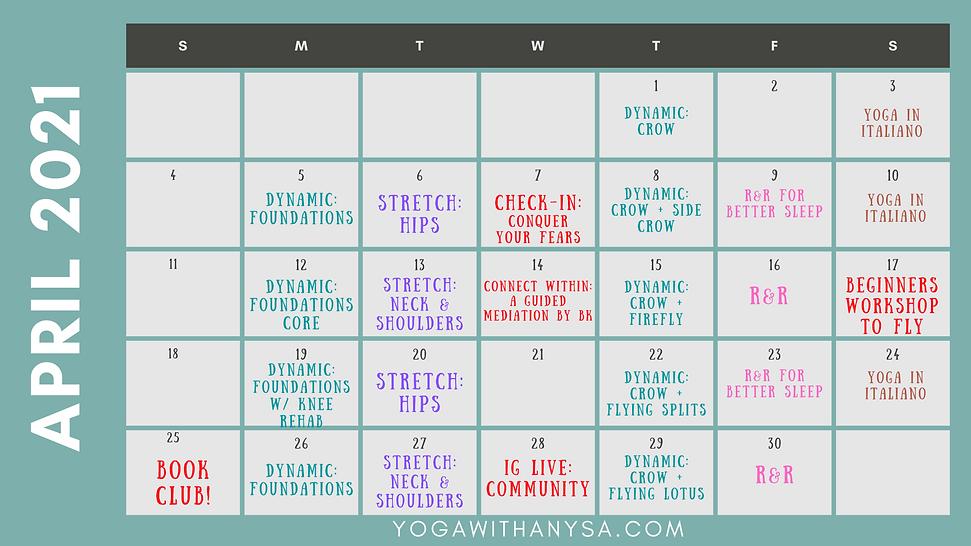 April Yoga Calendar