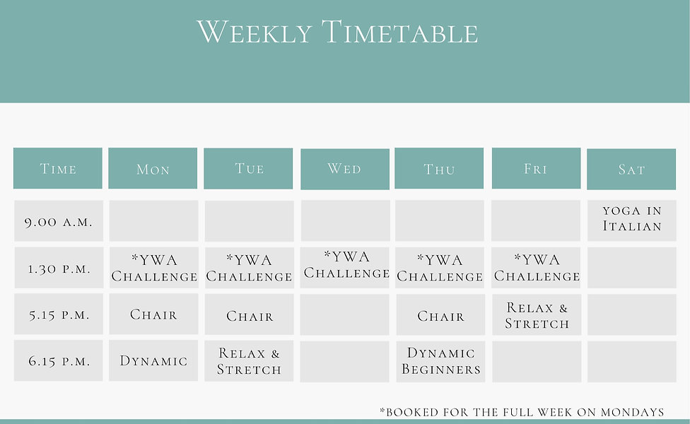 online yoga weekly timetable