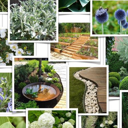 Idékollage för radhusträdgård