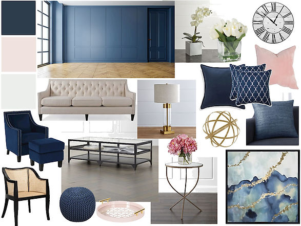 Sample Mood Board - navy with pink accen