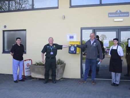 Defibrillator now on site