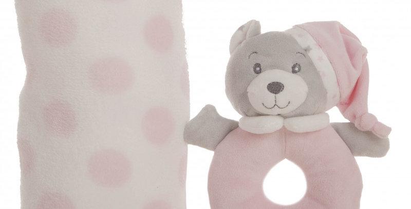 Manta Rosa 100x75cm + Sonajero 16 cm