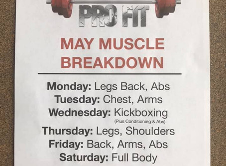 May Camp Pro Fit Schedule