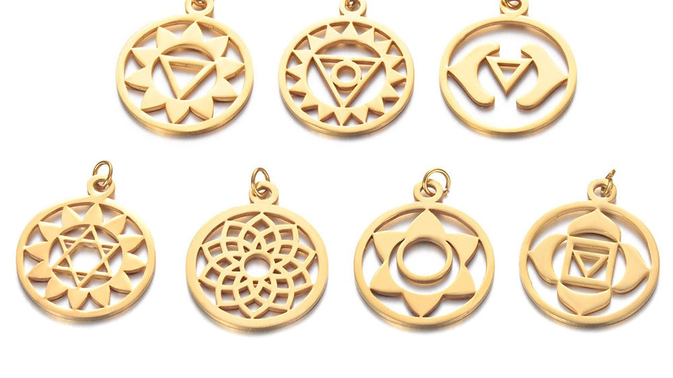7pcs Chakras Pendant Set  - In Silver, Rose Gold or Gold