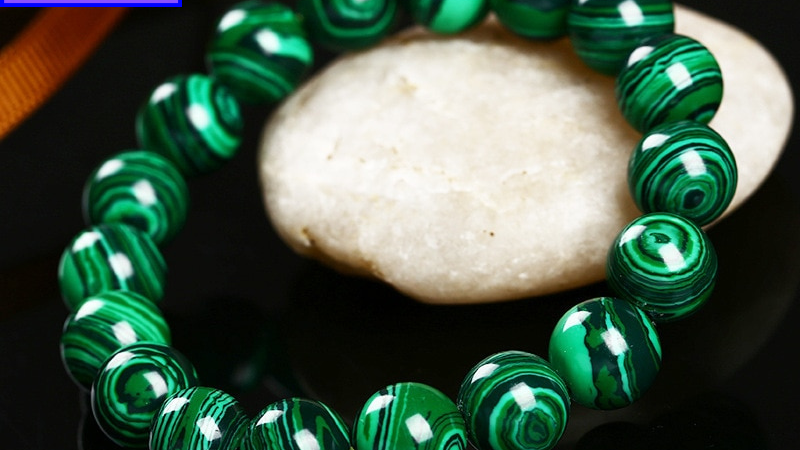 Malachite Natural Crystal Bracelet -Stone of Transformation, Love and Protection