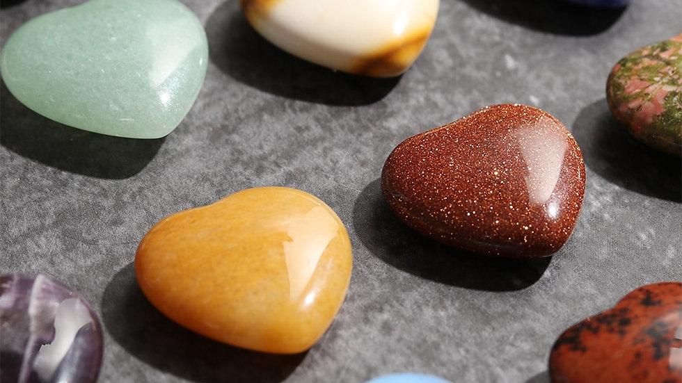 1Pc Mini Natural Heart Shaped Gemstones For Chakra Healing & Reik