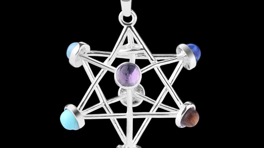 Merkaba Natural Gemstone Chakra Healing Pendant/Necklace