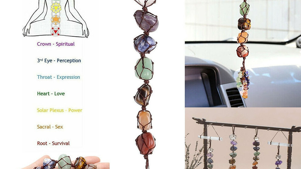 7 Chakras Healing Gemstone Handmade Hanging/Feng Shui Ornament - Ships from USA