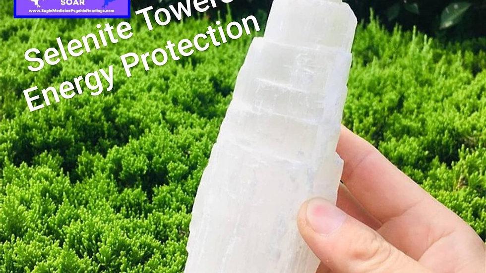100-150mm SELENITE White Gypsum Skyscraper Castle Crystal Point