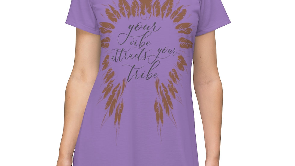 """""""Your Vibe Attracts Your Tribe"""" Long Comfy Sleeping Tee"""