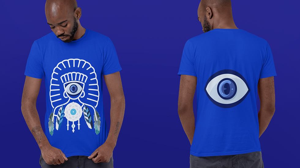 Nazar or Evil Eye Protection From Negativity & Harm Unisex 100% Cotton Tee