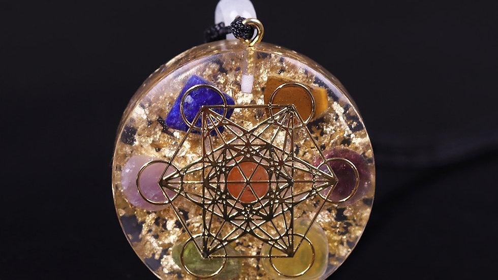 Metatron's Cube Orgonite Pendant - Chakra Gemstones & EMF Radiation Protection