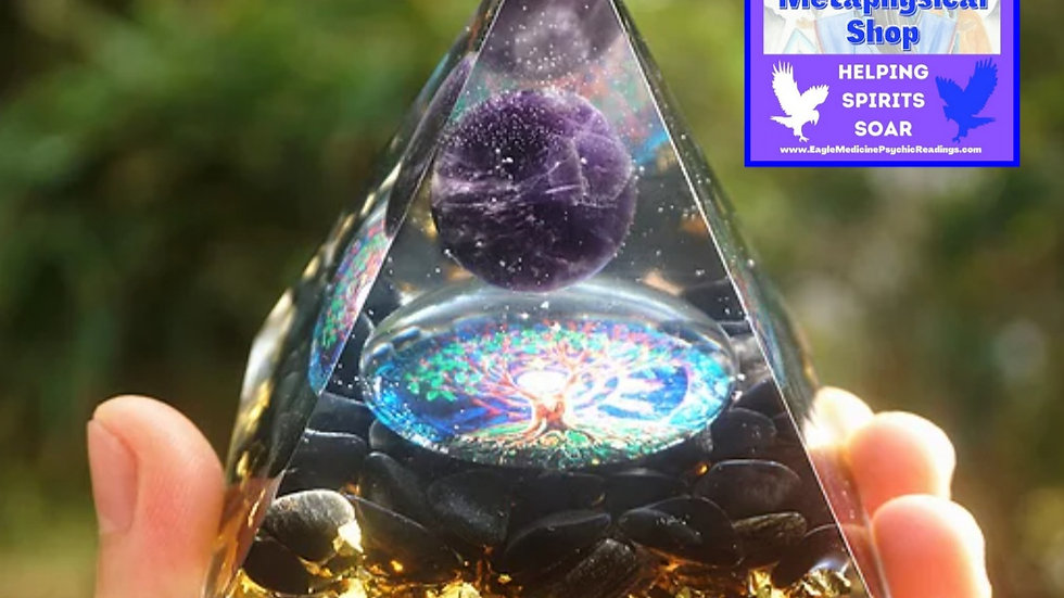 Orgonite Pyramid w/Natural Amethyst Sphere & Obsidian Energy Multiplier-60mm