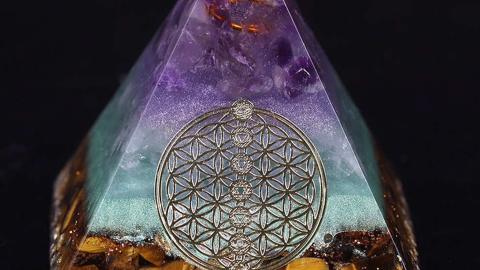 Orgone, Gold, Amethyst & Tiger Eye Pyramid  Energy Generator - Meditation/Reiki