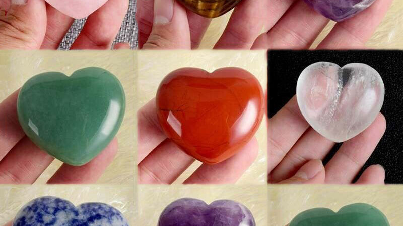 1Pc  Heart Shaped Natural Palm Gemtones in Tiger Eye/Amethyst/Lapis/Rose & More!