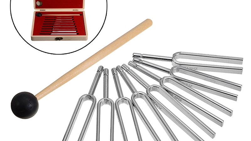 8pc Set Chakra Tuning Forks Sound Vibration Healing - Steel  (256-512hz)