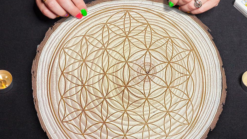 """Flower of Life"" Crystal Grid - Manifesting Sacred Geometry Archangel Metatron"