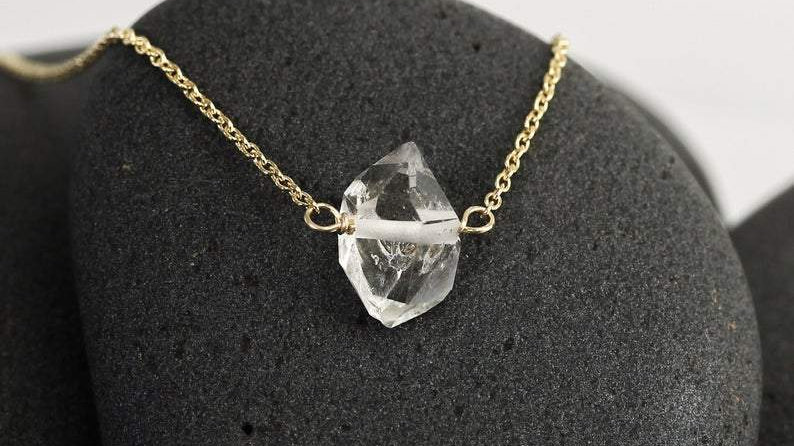 """RARE Natural Herkimer Diamond  16"""" Necklace in Gold  or Silver"""