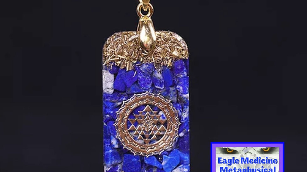 Orgonite Natural Lapis Lazuli Pendant -Enhance Psychic Ability + EMF  Protection