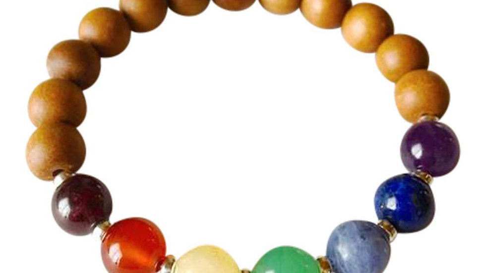 7  Chakras Gemstones & Sandalwood Sterling Silver Bracelet - AAA Gemstones