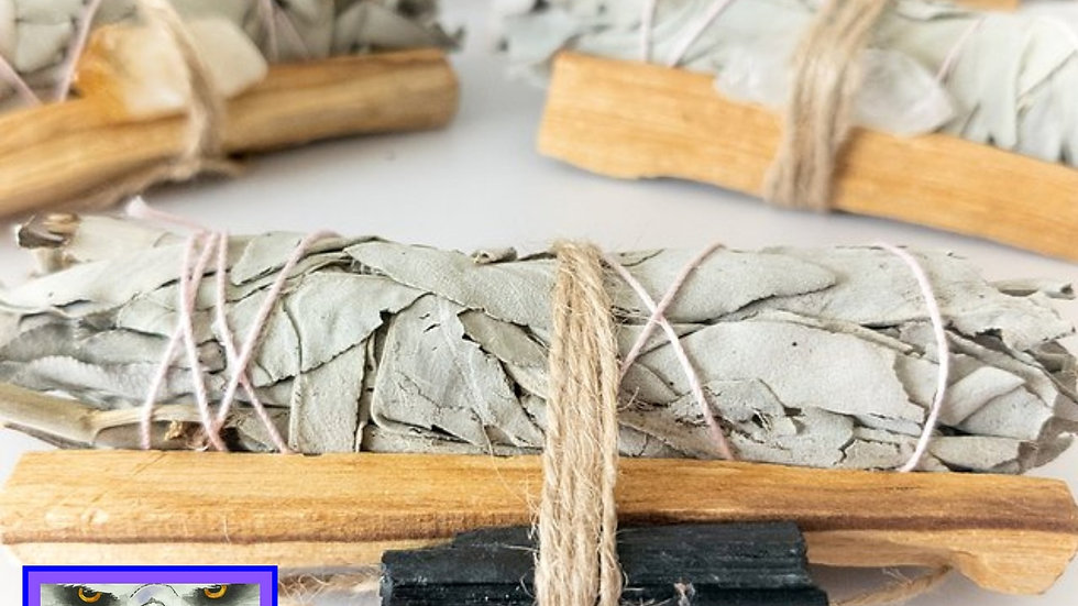 Palo Santo, Sage & Crystal Smudging Bundle Kit & Choice of 10 Crystals