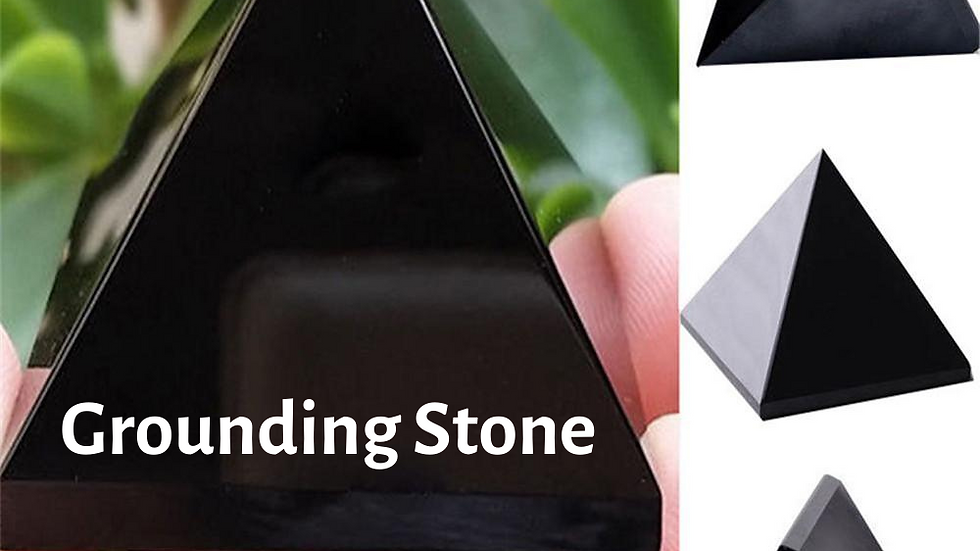Black Obsidian Crystal Pyramid -Grounding, Decision Making & Aura Clearing Stone