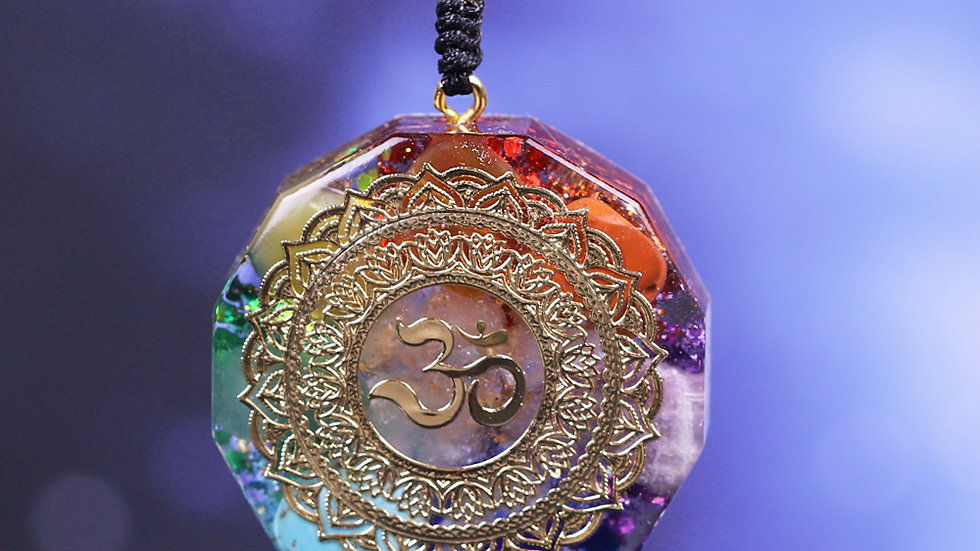 "Orgonite Pendant ""Om"" Third Eye Symbol  Chakra Healing Energy Aligning Necklace"