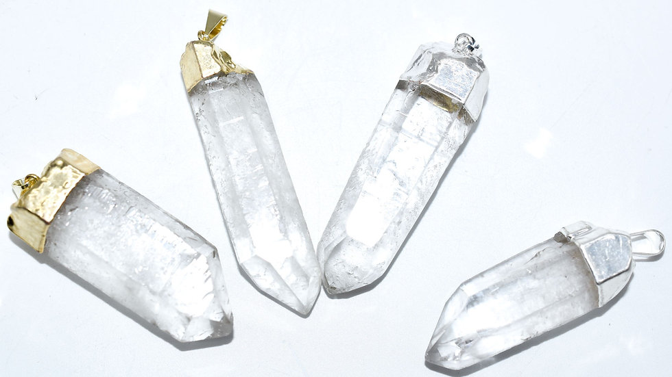 Clear Quartz Crystal Point Pendant - Stone of Clarity &  Master Healing Stone