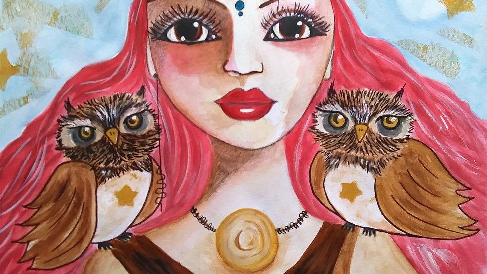 "Warrior Goddess by Lidia Dale-Mesaros - Custom Painting (11"" x 14"")"
