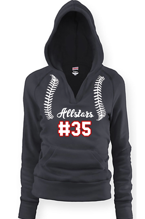 Youth/Ladies Allstar Baseball/Softball Fleece Hoodie