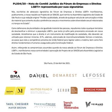 PL504/20 Nota do Comitê Jurídico representada por signatárias do Fórum de Empresas e Direitos LGBTI+