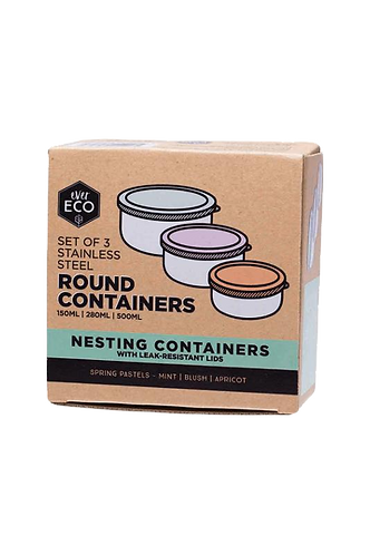 Ever Eco - Round Nesting Containers Pastel Collection (Set of 3)