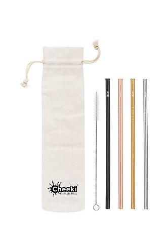 Cheeki - Stainless Steel Drinking Straws Straight 4 Pack