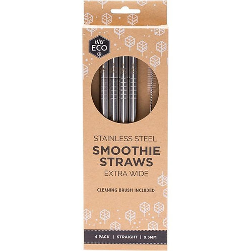 Ever Eco - Stainless Steel Smoothie Straws Straight (x4 Pack)