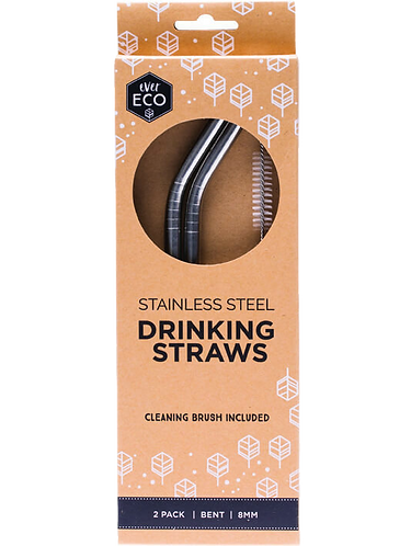 Ever Eco - Stainless Steel Straws Bent (x2 Pack Silver)