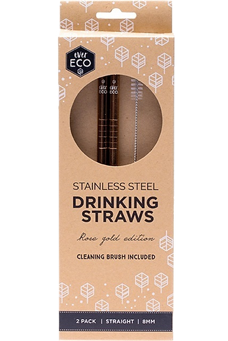 Ever Eco - Rose Gold Straws Straight (x2 Pack)