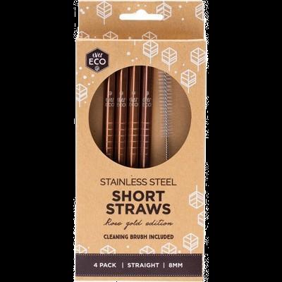 Ever Eco - Short Rose Gold Straws (x4 Pack)
