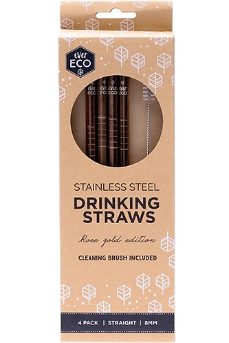 Ever Eco - Rose Gold Straws Straight (x4 Pack)