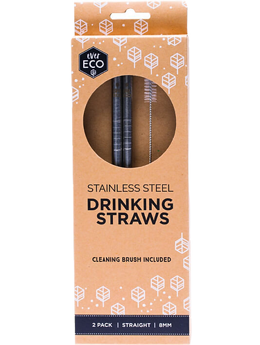 Ever Eco - Stainless Steel Straws Straight (x2 Pack Silver)