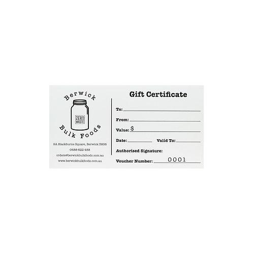 Instore Gift Certificate