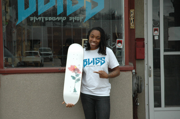 Sasha Senior outside Bliss Skateboard Shop