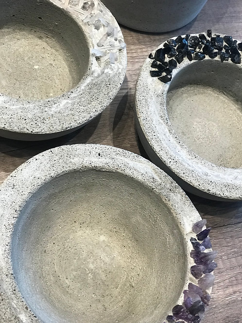 Crystal Infused Mother Moon Concrete Vessel - Short