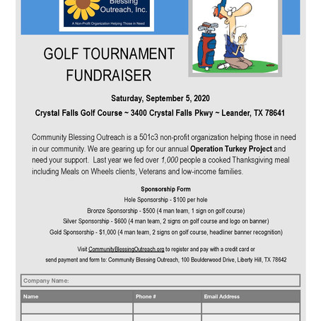 2020 Annual Golf Tournament SPONSORSHIP FORM