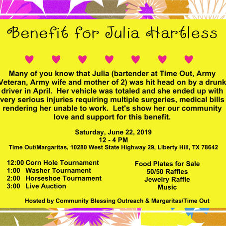 Benefit for Julia Hartless