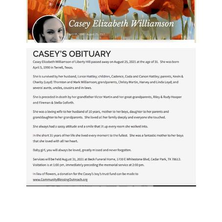 Casey Elizabeth Williamson - Funeral/Children Trust Donation