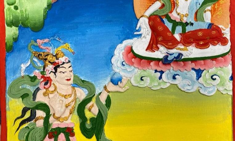 Avalokiteshvara & Naga Waruna Tile (painted)